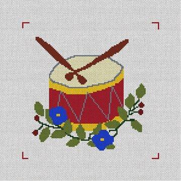 Twelve Drummers Drumming Needlepoint Canvas