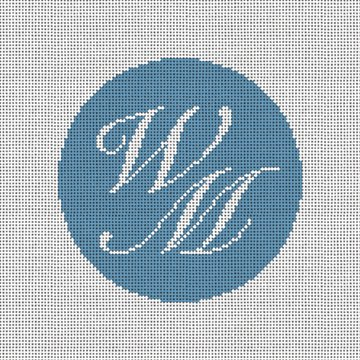 Two Initials Needlepoint Ornament Canvas
