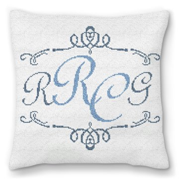 Two Initials Needlepoint Pillow