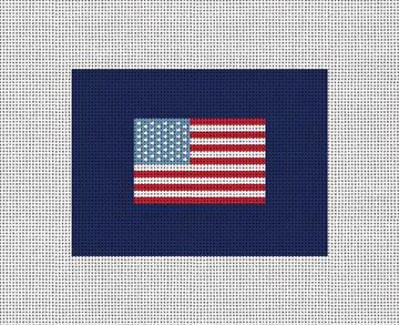 US Flag Needlepoint Card Wallet Canvas