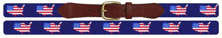USA Flag Needlepoint Belt