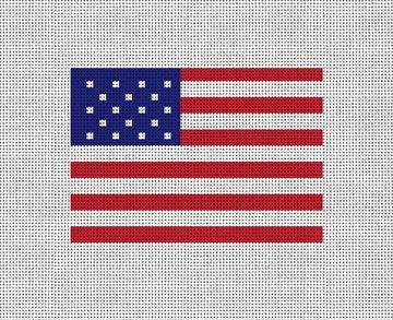 USA Flag Needlepoint Card Wallet Canvas