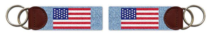 USA Flag Needlepoint Key Fob