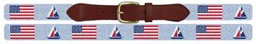 USA Flag Sailing Needlepoint Belt