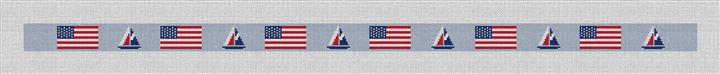 USA Flag Sailing Needlepoint Belt Canvas