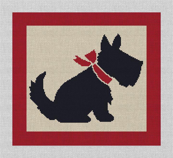 Vintage Scottish Terrier Needlepoint Canvas