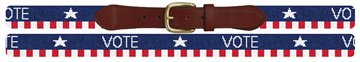 Vote Red White and Blue Needlepoint Belt