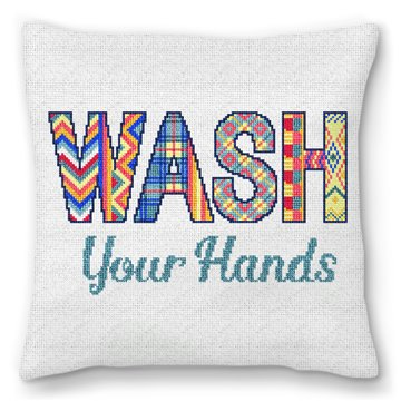 Wash Your Hands Needlepoint Pillow
