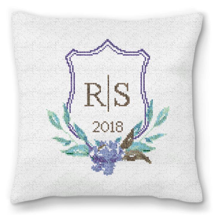Wedding Crest Needlepoint Wedding Pillow