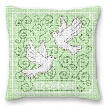 Wedding Doves Needlepoint Pillow