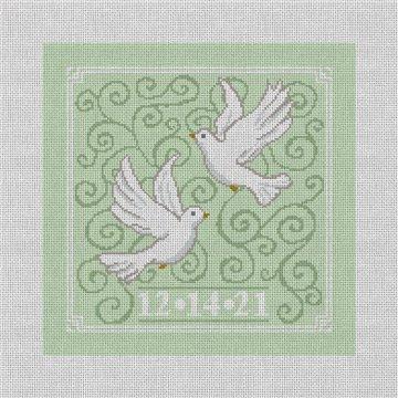 Wedding Doves Needlepoint Pillow Canvas
