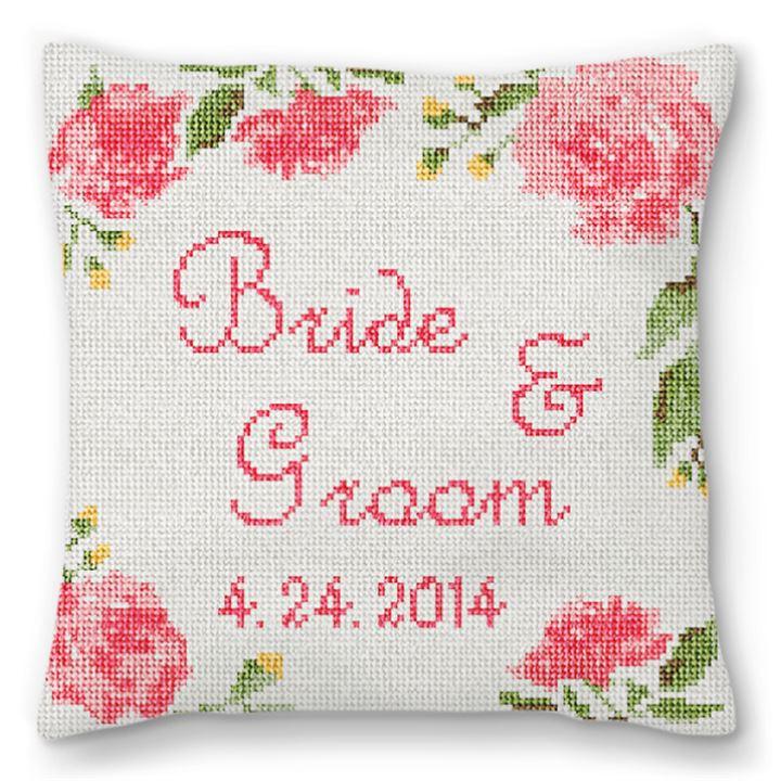 Wedding Rose Ring Bearer Needlepoint Pillow