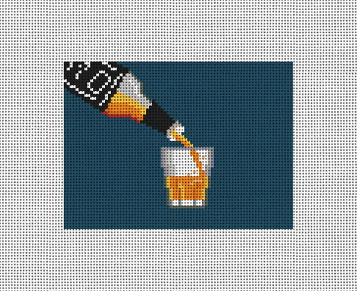 Whiskey Needlepoint Card Wallet Canvas