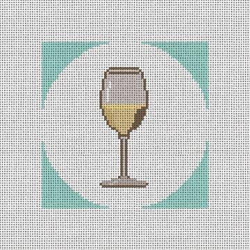 White Wine Coaster Needlepoint Canvas