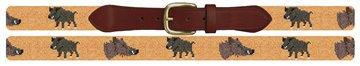 Wild Boar Needlepoint Belt