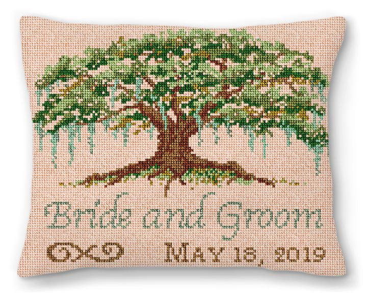 Willow Tree Wedding Needlepoint Pillow