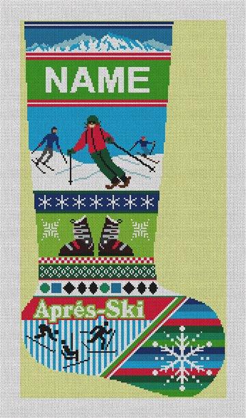 Winter Ski Christmas Stocking Needlepoint Canvas
