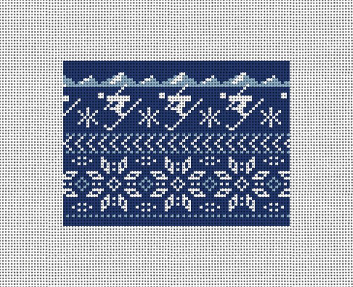 Winter Skiing Needlepoint Card Wallet Canvas