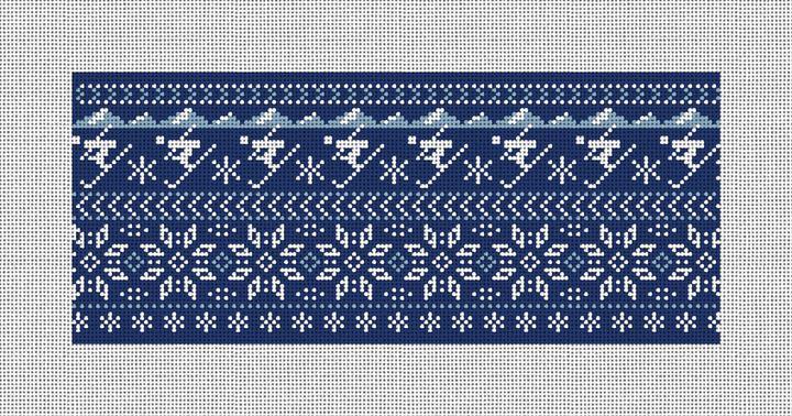 Winter Skiing Needlepoint Flask Canvas
