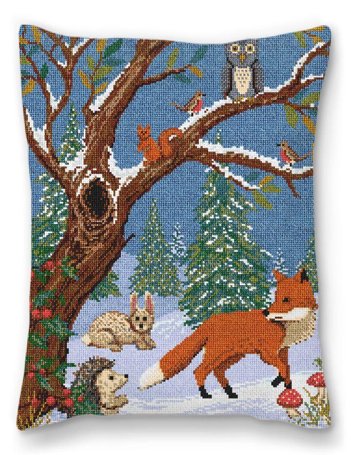 Winter Woodland Needlepoint Pillow