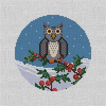 Winter Woodland Owl Needlepoint Ornament Canvas
