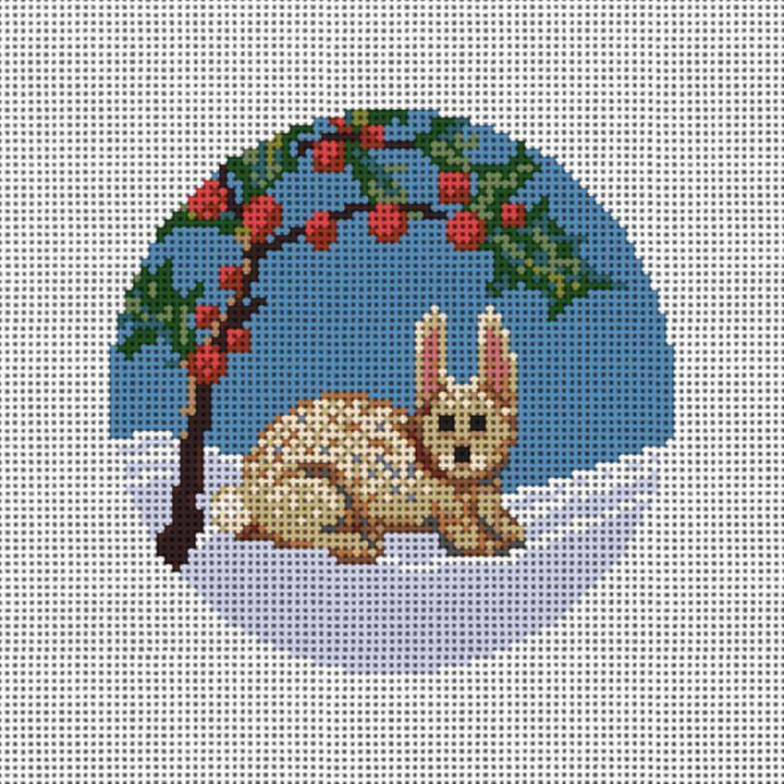 Winter Woodland Rabbit Needlepoint Ornament Canvas