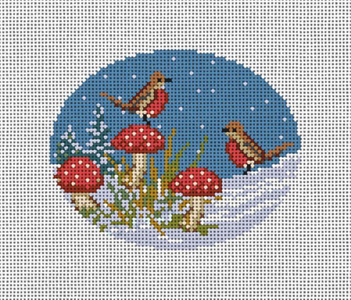 Winter Woodland Robins Needlepoint Ornament Canvas