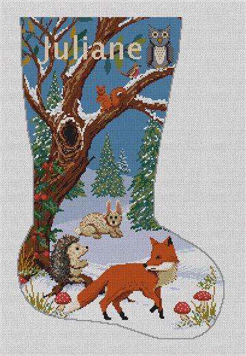 Winter Woodland Stocking Needlepoint Canvas