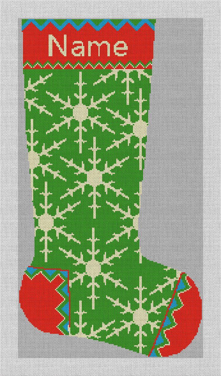 Winterthur Green Needlepoint Stocking Canvas