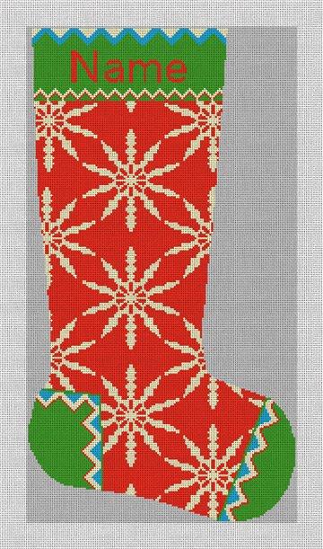Winterthur Red Needlepoint Stocking Canvas