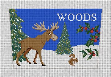 Woodland Moose Stocking Cuff Needlepoint Canvas