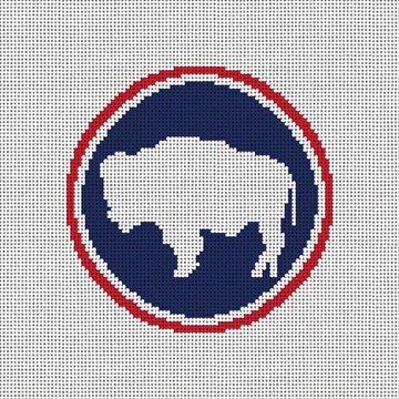 Wyoming Buffalo Needlepoint Ornament Canvas