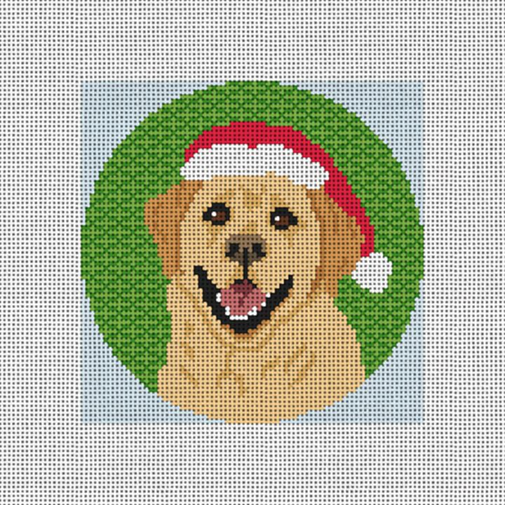 Yellow Labrador Needlepoint Ornament Canvas
