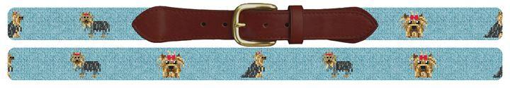 Yorkshire Terrier Needlepoint Belt